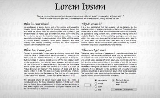 lorem ipsum web design tool example