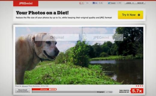 tiny pic jpeg mini photo compression tool web design