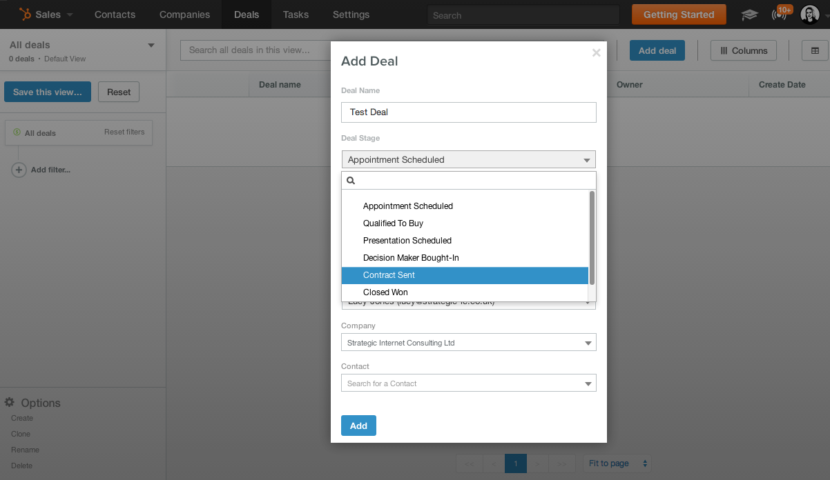 screenshot add deal hubspot