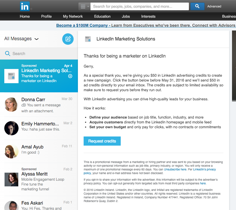 Linkedin inmail campaign cost included price
