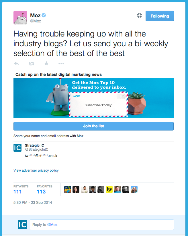paid ads inbound twitter lead generation card